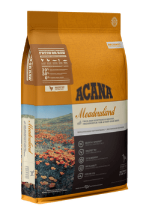 ACANA Meadowland Grain-Free High Protein Freeze-Dried Coated Chicken Turkey Fish Cage-Free Eggs Dry Dog Food
