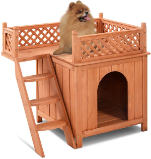 Giantex Pet Dog House, Wooden Dog Room Shelter with Stairs