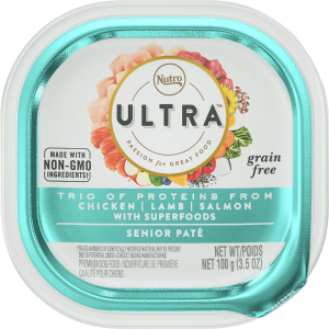 Nutro Ultra Grain-Free Trio Protein Chicken, Lamb & Salmon Pate with Superfoods Senior Wet Dog Food Trays