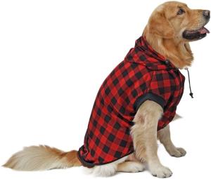PAWZ Road Large Dog Plaid Shirt Coat Hoodie Pet Winter Clothes