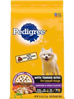 PEDIGREE® With Tender Bites for Small Dogs, Complete Nutrition Adult Dry Dog Food, Chicken & Steak Flavor Dog Kibble