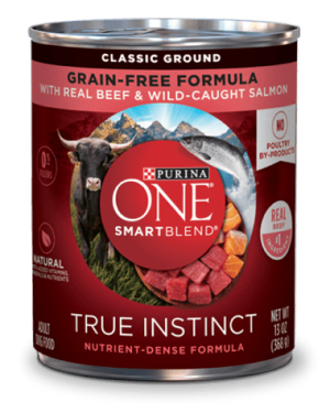Purina ONE SmartBlend True Instinct Classic Ground Grain-Free Dog Food Formula With Real Beef & Wild-Caught Salmon