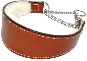 Sheepskin Lined Leather Martingale Dog Collar